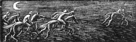 wood-engraving original print: The Chase for Cambridge Book of Poetry for Children